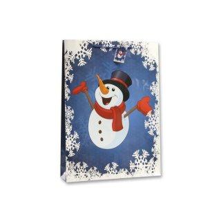 Bambelaa! 12x Geschenktüten Weihnachten Motiv Schneemann Weiß Blau ca.25x8,5x34cm