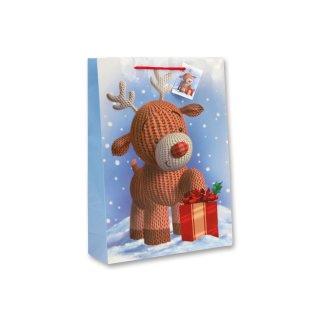 Bambelaa! 12x Geschenktüten Weihnachten Motiv Strickrentier ca. 25x8,5x34,5 cm