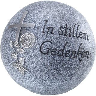 Bambelaa! Grab-Dekokugel In stillem Gedenken Steinharz grau ca 18cm