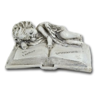 Bambelaa! Grabengel auf Buch, aus Steinharz