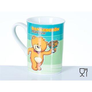 Bambelaa! Kaffeebecher: Dankeschön- Bärchen, aus Porzellan, 265ml