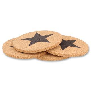 Bambelaa! 4er Set Untersetzer Star Stern aus Kork Glas &Tassenuntersetzer