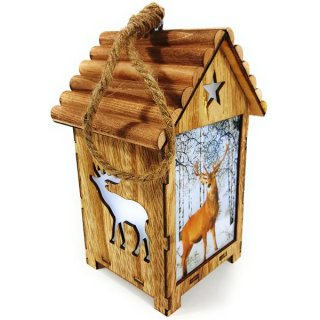 Bambelaa! LED Leuchthaus aus Holz Motiv Hirsch