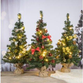 Bambelaa! Weihnachtsbaum Künstlich Mit Beleuchtung Geschmückt Tannenbaum Dekoriert Christbaum Beleuchtet LED 75cm