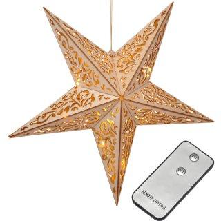 Bambelaa! LED Holzstern Weihnachtsdeko batteriebetrieben ca. 40cm
