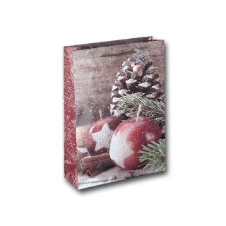 12x Geschenktüten Weihnachten Motiv Weihnachtsapfel ca. 28x8,5x34,5 cm