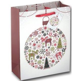 12x Geschenktüten Weihnachten Motiv Skandi Elch ca. 18x8x23 cm