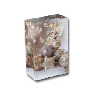 12x Geschenktüten Weihnachten Motiv Weihnachtskugeln Gold ca. 12x6x19 cm