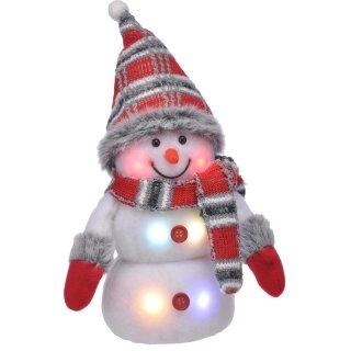 Bambelaa! Dekorativer Schneemann Rot Grau beleuchtet mit 6 bunten LEDs ca. 20 cm hoch (batteriebetrieben)