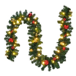 Bambelaa! Weihnachtstannengirlande 80 LED 5m Mit Christbaum Kugeln
